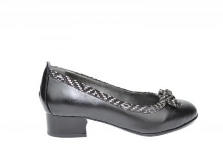 Pantofi cu toc Piele Naturala Negri Moda Prosper Adina D019090