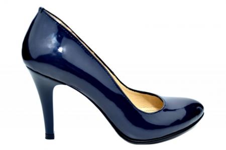 Pantofi cu toc Piele Naturala Bleumarin Alla D017810
