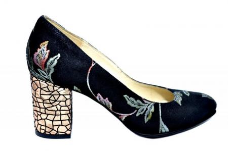 Pantofi cu toc Piele Naturala Negri Andressa D018180