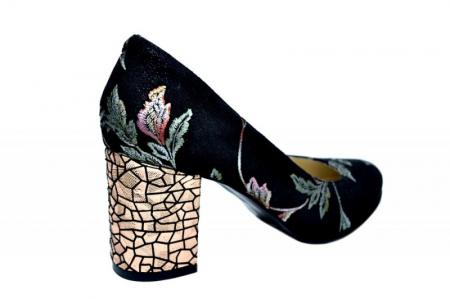 Pantofi cu toc Piele Naturala Negri Andressa D018183