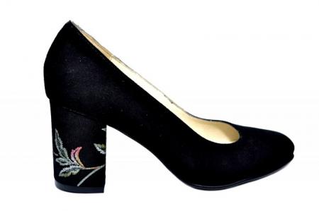 Pantofi cu toc Piele Naturala Negri Andressa D01819 [0]
