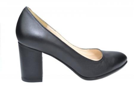 Pantofi cu toc Piele Naturala Negri Andressa D019170