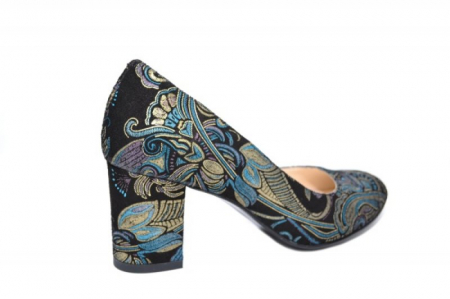 Pantofi cu toc Piele Naturala Negri Aquila D01921 [3]