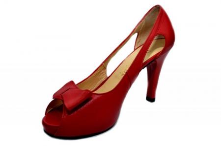 Pantofi Dama Piele Naturala Rosii Belle D01326 [2]