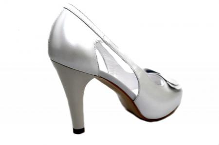 Pantofi Dama Piele Naturala Albi Belle D013273