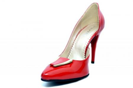 Pantofi cu toc Piele Naturala Rosii Brigit D016902