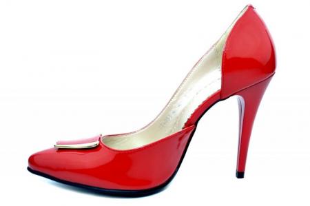 Pantofi cu toc Piele Naturala Rosii Brigit D016901