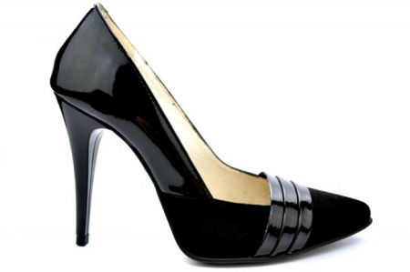 Pantofi cu toc Piele Naturala Negri Brigitte D01110 [0]