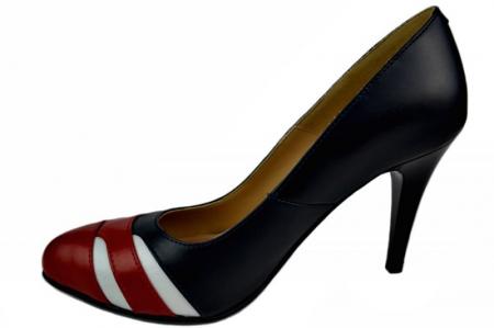 Pantofi cu toc Piele Naturala Bleumarin Corvaris Elsa D013961