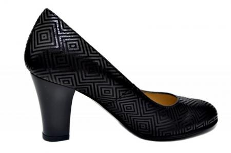 Pantofi cu toc Piele Naturala Negri Dalia D016460
