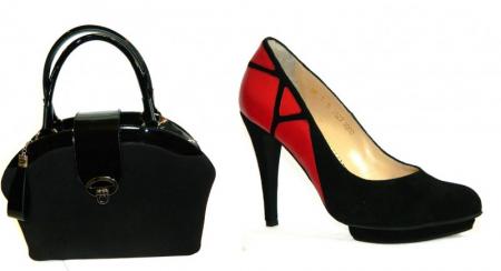 Pantofi cu toc Piele Naturala Guban Negri Vera D001384