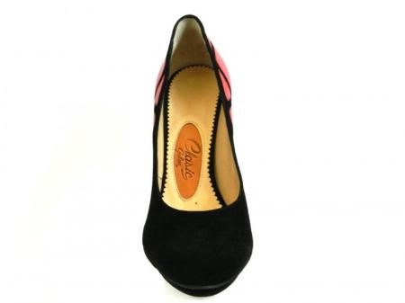 Pantofi cu toc Piele Naturala Guban Negri Vera D001383