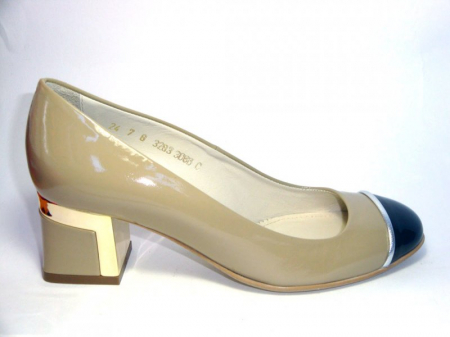 Pantofi cu toc Piele Naturala Guban Bej Tela D003220