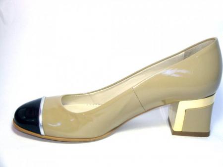 Pantofi cu toc Piele Naturala Guban Bej Tela D003221