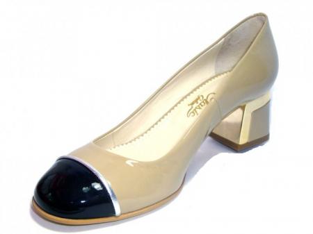 Pantofi cu toc Piele Naturala Guban Bej Tela D003222