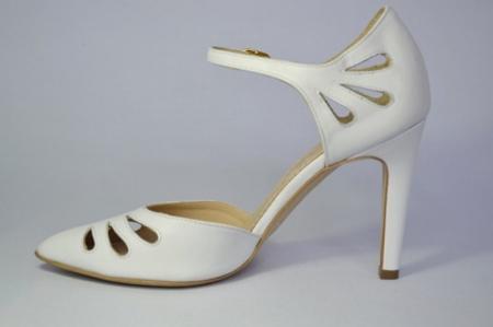 Pantofi Dama Piele Naturala Albi Guban Lenda D006481