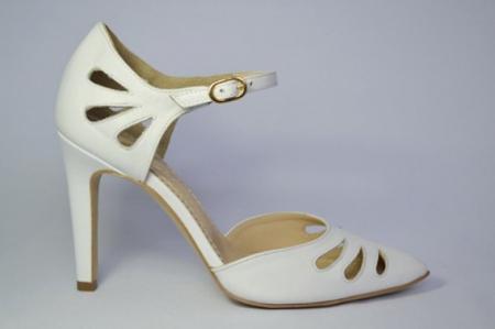 Pantofi Dama Piele Naturala Albi Guban Lenda D006480