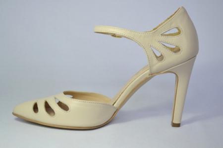 Pantofi Dama Piele Naturala Guban Bej Eliona D006501