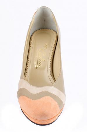 Pantofi cu toc Piele Naturala Guban Bej Vevi D000852