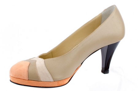 Pantofi cu toc Piele Naturala Guban Bej Vevi D000851