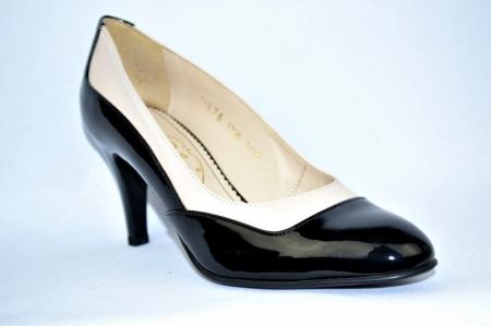 Pantofi cu toc Piele Naturala Guban Negri Veve D009143