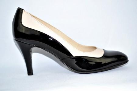 Pantofi cu toc Piele Naturala Guban Negri Veve D009140