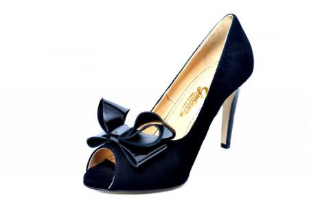 Pantofi cu toc Piele Naturala Negri Guban Beatriz D018142