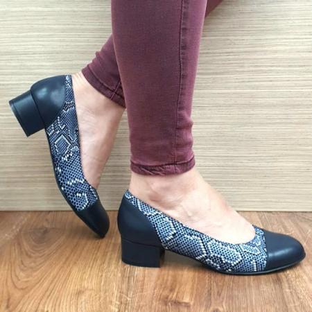 Pantofi cu toc Piele Naturala Bleumarin Guban Bega D017270