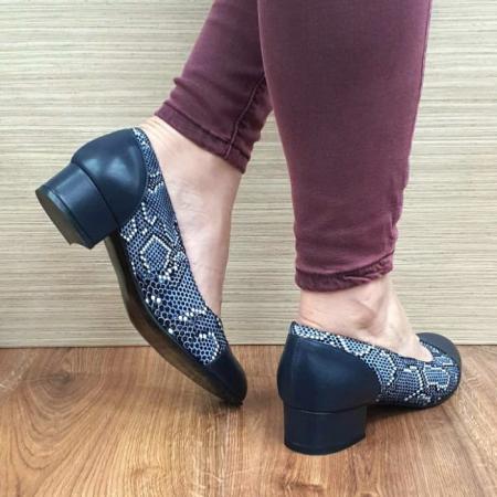Pantofi cu toc Piele Naturala Bleumarin Guban Bega D017273