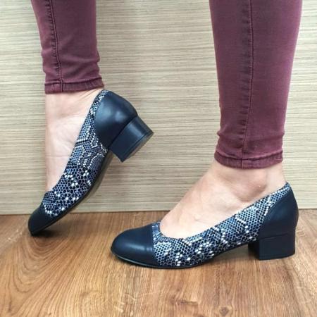 Pantofi cu toc Piele Naturala Bleumarin Guban Bega D017271
