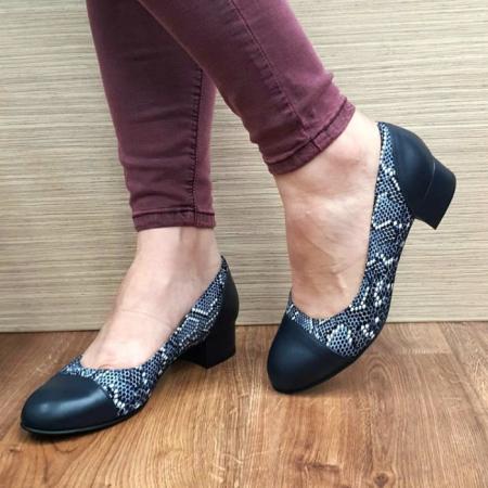Pantofi cu toc Piele Naturala Bleumarin Guban Bega D017272