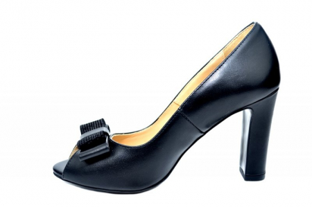 Pantofi cu toc Piele Naturala Negri Guban Bruna D018151