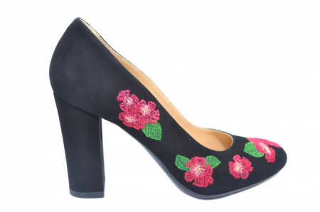 Pantofi cu toc Piele Naturala negri Guban Eline D018450