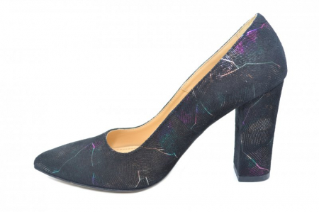 Pantofi cu toc Piele Naturala Negri Guban Hillary D018441