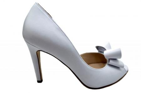 Pantofi Dama Piele Naturala Albi Guban Ivanna D015700