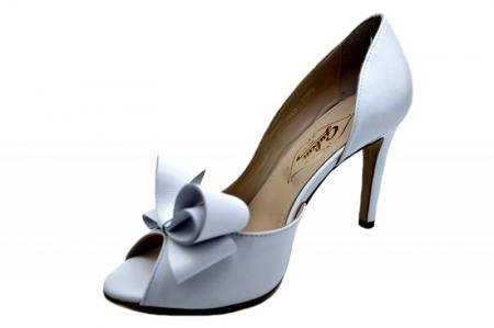 Pantofi Dama Piele Naturala Albi Guban Ivanna D015702