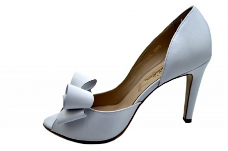 Pantofi Dama Piele Naturala Albi Guban Ivanna D015701