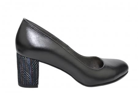 Pantofi cu toc Piele Naturala Negri Moda Prosper Hazel D020700