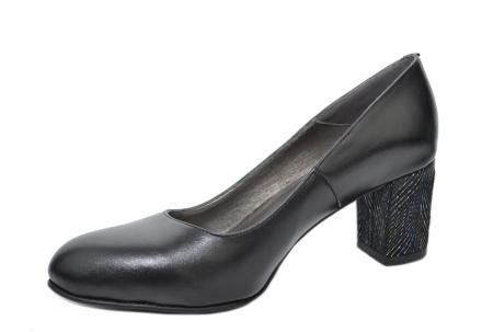 Pantofi cu toc Piele Naturala Negri Moda Prosper Hazel D020702
