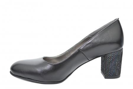 Pantofi cu toc Piele Naturala Negri Moda Prosper Hazel D020703