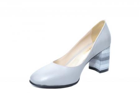 Pantofi cu toc Piele Naturala Gri Moda Prosper Hortensia D020262