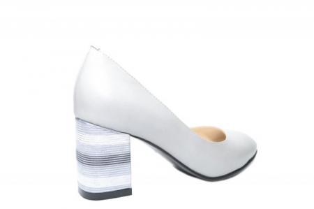 Pantofi cu toc Piele Naturala Gri Moda Prosper Hortensia D020263