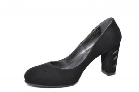 Pantofi cu toc Piele Naturala Negri Moda Prosper Isra D020292