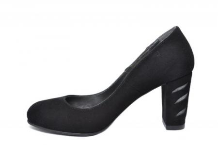 Pantofi cu toc Piele Naturala Negri Moda Prosper Isra D020291