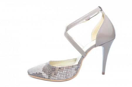 Pantofi Dama Piele Naturala Grej Jayne D018611