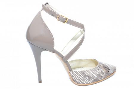 Pantofi Dama Piele Naturala Grej Jayne D018610