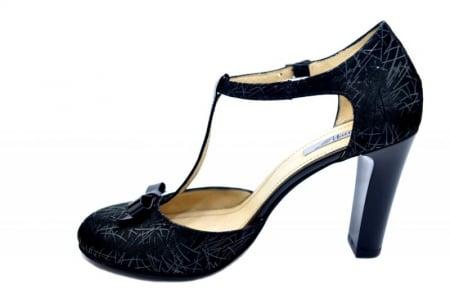 Pantofi Dama Piele Naturala Negri Lana D015891
