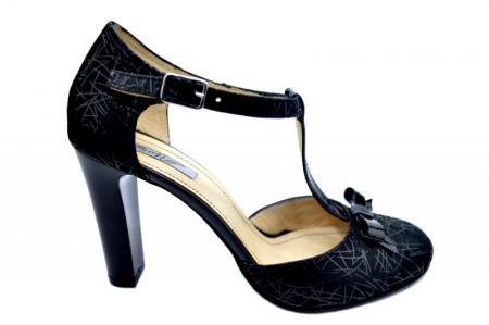 Pantofi Dama Piele Naturala Negri Lana D015890