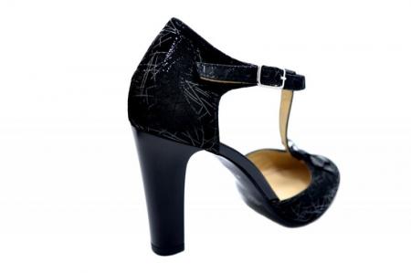 Pantofi Dama Piele Naturala Negri Lana D015893