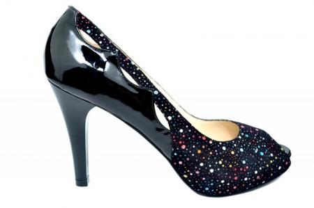 Pantofi cu toc Piele Naturala Negri Lowanna D017400